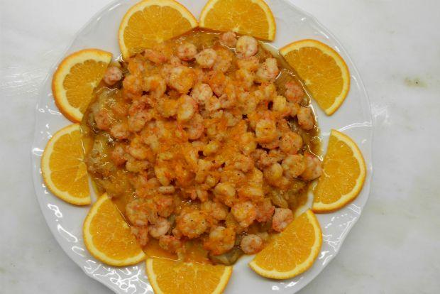 креветки с апельсином