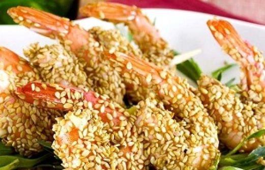креветки жареные с кунжутом